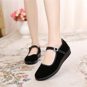 老北京单鞋厚底工作鞋女黑酒店布鞋
