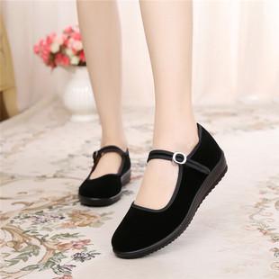老北京布鞋女鞋平底单鞋加绒工作鞋女黑酒店上班鞋跳舞妈妈鞋防滑图片