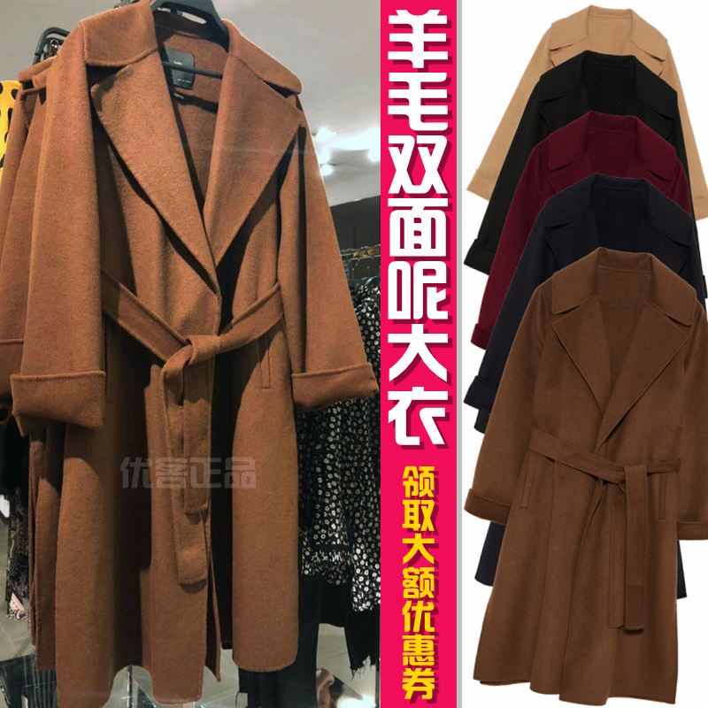 Wool double faced woolen coat womens clothing Za high end European and American medium and long cashmere belt camel Caramel coat
