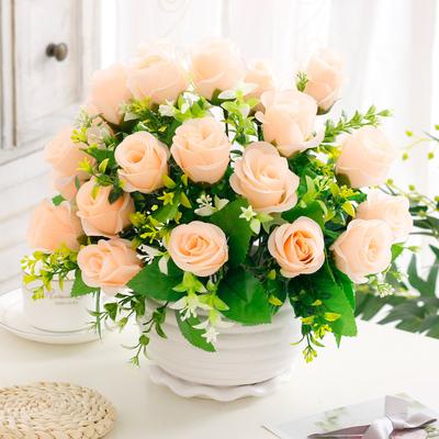 仿真花束客厅卧室餐桌茶几摆件假花艺装饰绢花陶瓷塑料假花插花