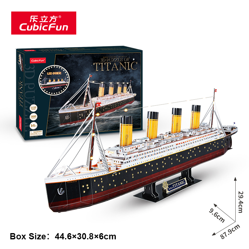 Le Cube 3D stereoscopic puzzle LED version of the Titanic DIY simulation assembly ship model cruise ship model toys