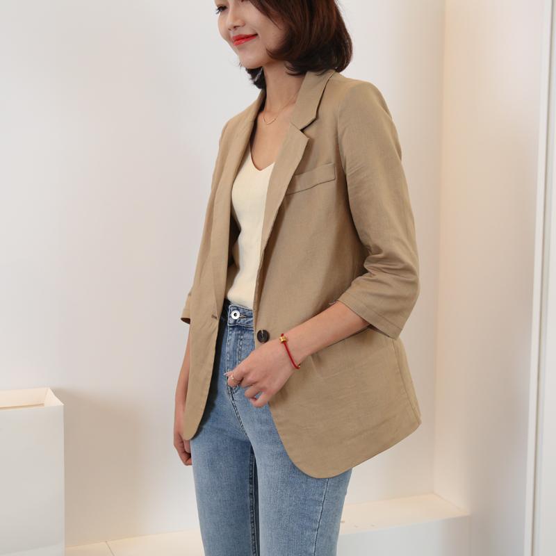 棉麻小西装外套2021新款亚麻西装外套女夏季薄款七分袖西装外套淘宝优惠券