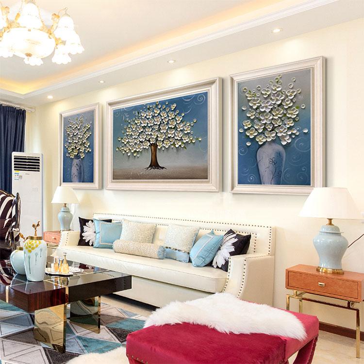 满500元可用30元优惠券客厅欧式餐厅手绘油画大气背景墙画