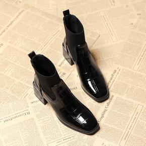 高跟短靴女2020年新款加绒女鞋瘦瘦小码袜靴中粗跟秋冬季马丁靴子
