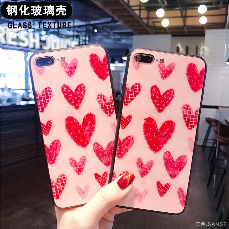 ins网红同款红色爱心苹果X手机壳iphone7plus/6s/6玻璃壳仙女8p潮