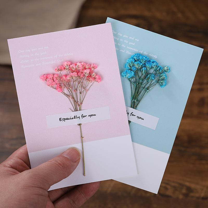 2021新年牛年贺卡定制生日贺卡祝福干花贺卡定做活动妇女节小卡片