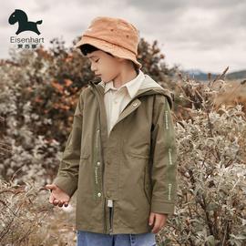 爱西娜日韩清新男童工装风衣中长款2021新款春秋儿童外出防风外套