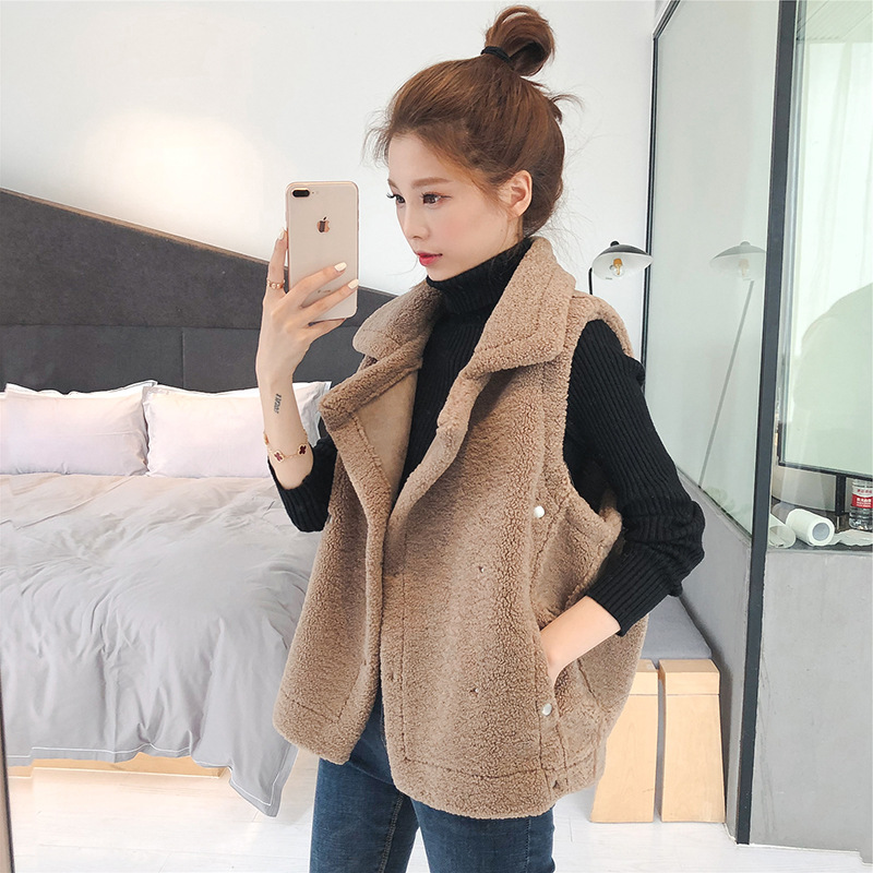 New Korean Academy style Plush vest in autumn and winter of 20 with lapel and solid color sleeveless jacket for womens sweater