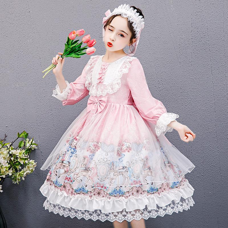 2021年女の子ワンピース春夏ロリータ子供スカートロリータプリンセススカート子供服