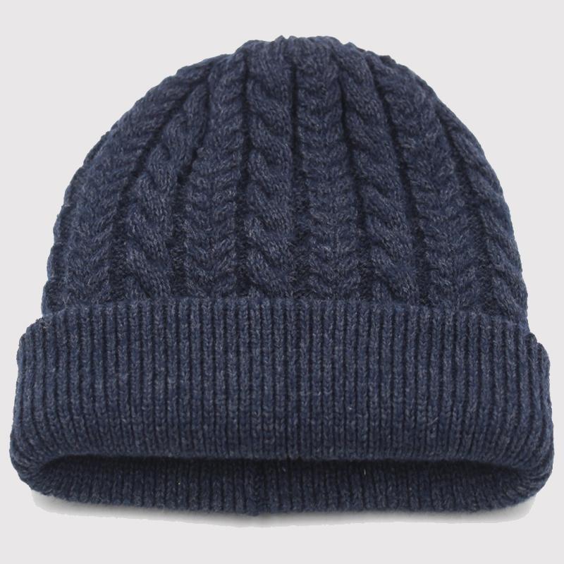男士冬季毛线混纺加厚毛线帽中老年帽子套头护耳针织保暖帽老人帽