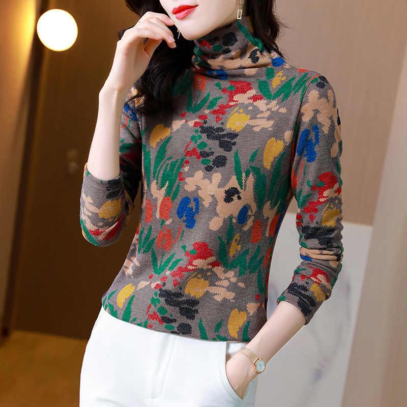 专柜品牌冬日暖物修身高领针织衫毛衣印花多色年秋冬潮款