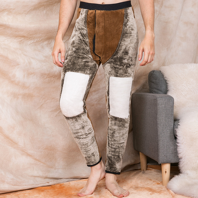 Warm pants mens Plush thickened middle-aged and elderly mens loose knee pads in winter wear camel velvet cotton pants with bottom