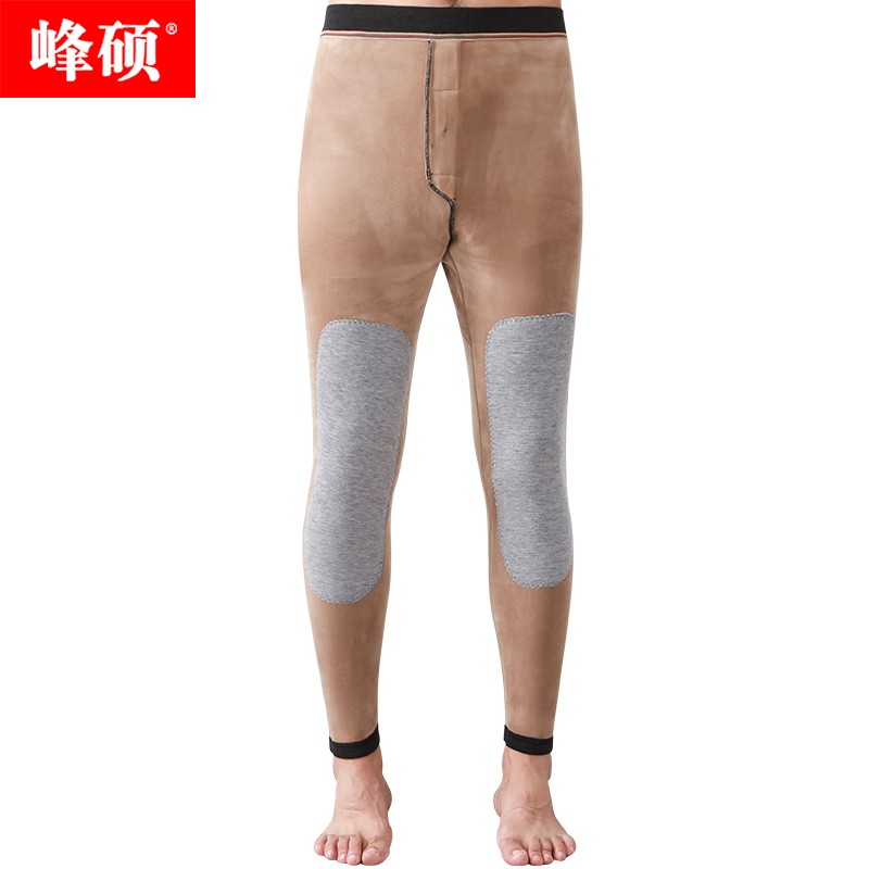 Fengshuo 2021 autumn and winter new mens double-layer thickened warm pants comfortable knee protection waist slim fit high waist mens cotton pants
