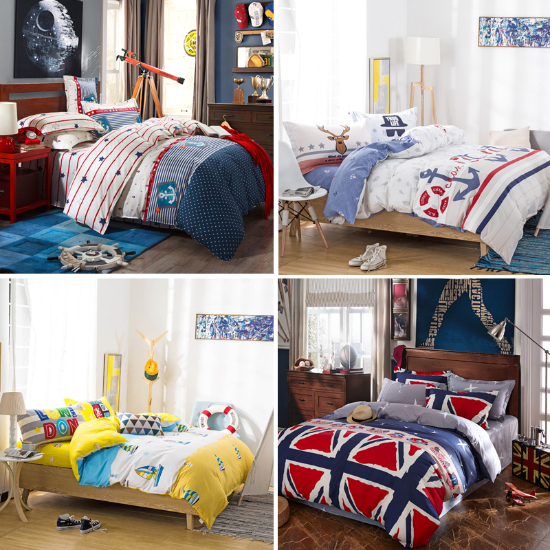 All cotton 4-piece European and American Mediterranean style childrens room bedding sheet cover