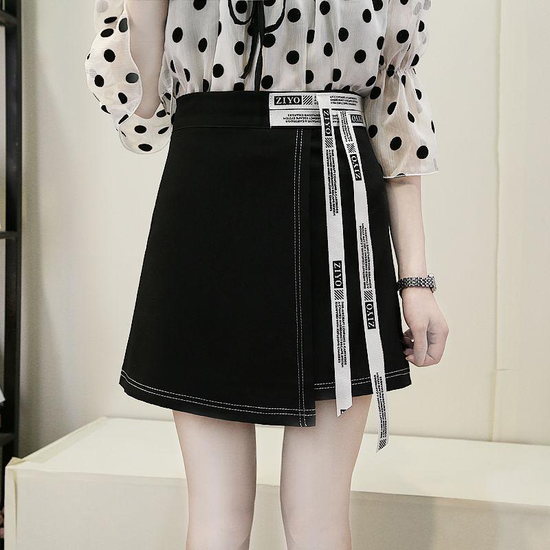 春夏新款a字裙不规则短裙女时尚韩版反色线带子裙黑色半身裙子