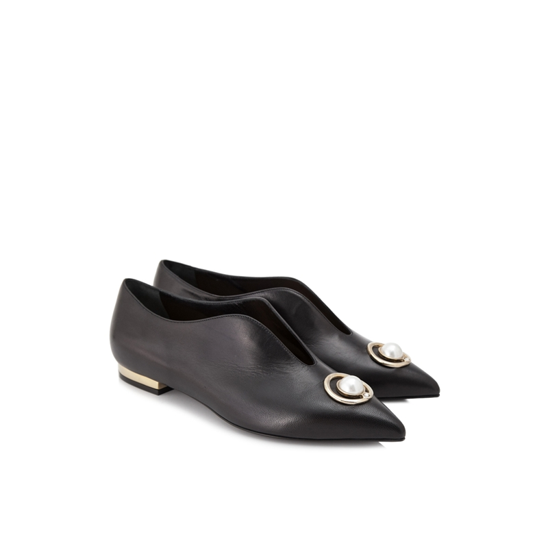 COLIAC婦人靴女性革の先端カジュアルフラットシューズ