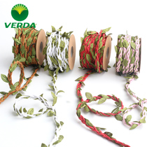 Handmade DIY gift Box rattan green forest System Hemp Rope woven vase green leaf photo wall decorative rope material