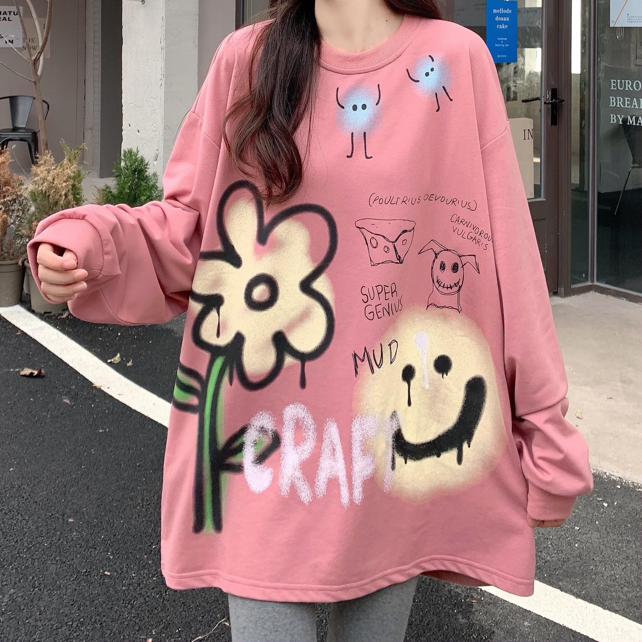2021新款秋季薄款港风甜美创意时尚卫衣女长袖t恤610A-2-W02-P40