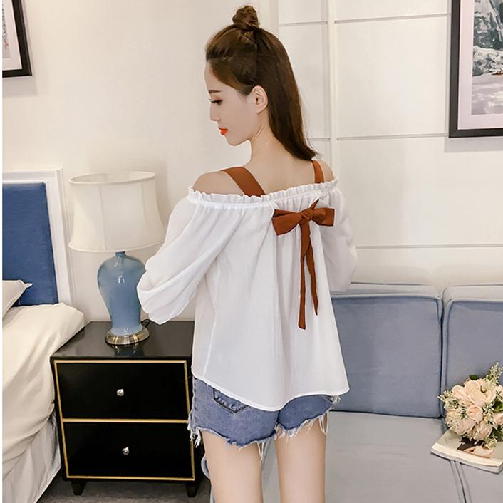 娃娃衫小清新吊带衫一字肩露肩上衣女夏 衣韩版学生棉衬衫