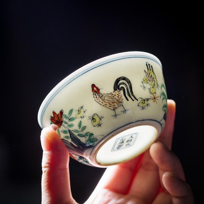 大明成化斗彩鸡缸杯品茗杯景德镇陶瓷器仿古玩功夫茶具手绘主人杯
