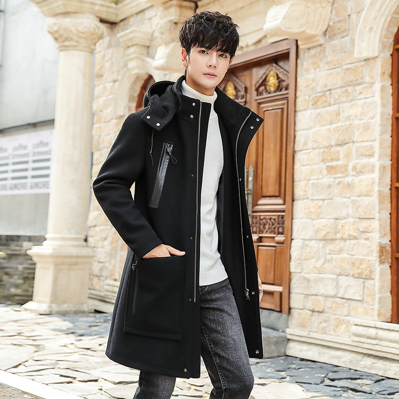 Mid long overcoat mens wool overcoat with hat casual clothes Korean Trend slim Hooded Jacket