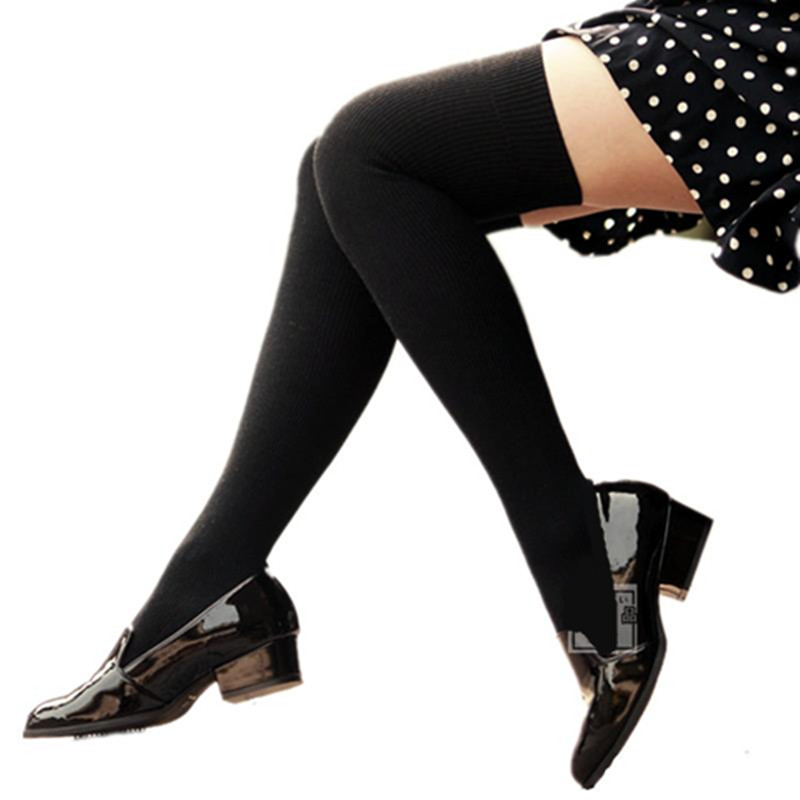 Spring and Autumn New College Fengsen Department Japanese pure cotton black long tube show thin over knee socks thigh high tube socks