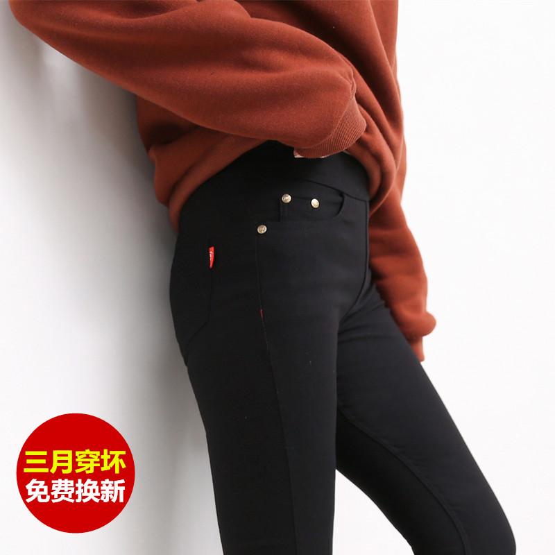江南女孩高腰打底裤外穿加绒魔术裤长裤黑色裤子铅笔九分女裤秋冬