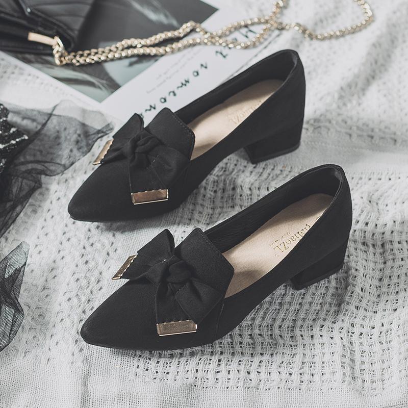 粗跟单鞋女仙中跟淑女风2019高跟鞋