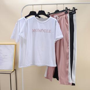 【时尚款】柔柔家柔柔2019年夏季新款时尚套装字母T恤休闲裤女潮