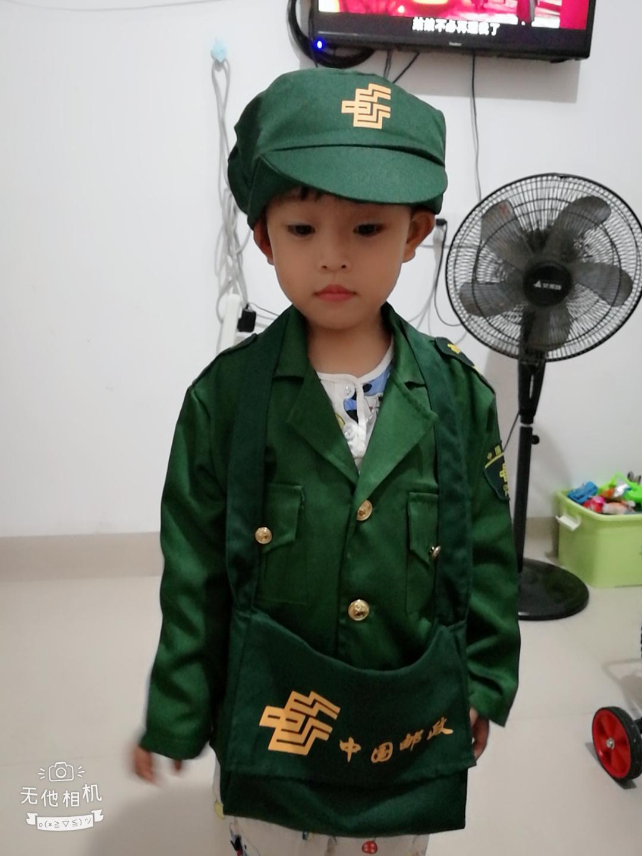 幼儿童中国邮政邮递员工作衣服男童女童小孩快递员职业表演出服装