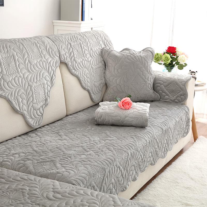 毛绒沙发垫布艺纯色坐垫简约现代冬季防滑实木水晶绒皮沙发套巾罩