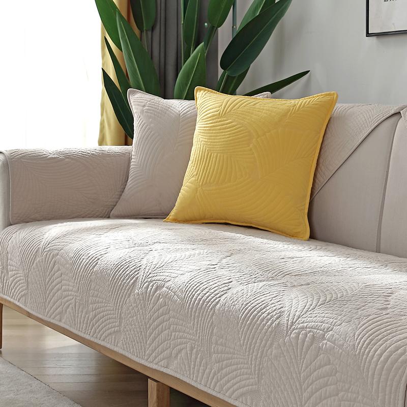 北欧简约纯色沙发垫四季纯棉布艺罩