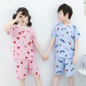 儿童睡衣夏季男童女童纯棉绸男孩绵绸薄款短袖宝宝空调家居服套装