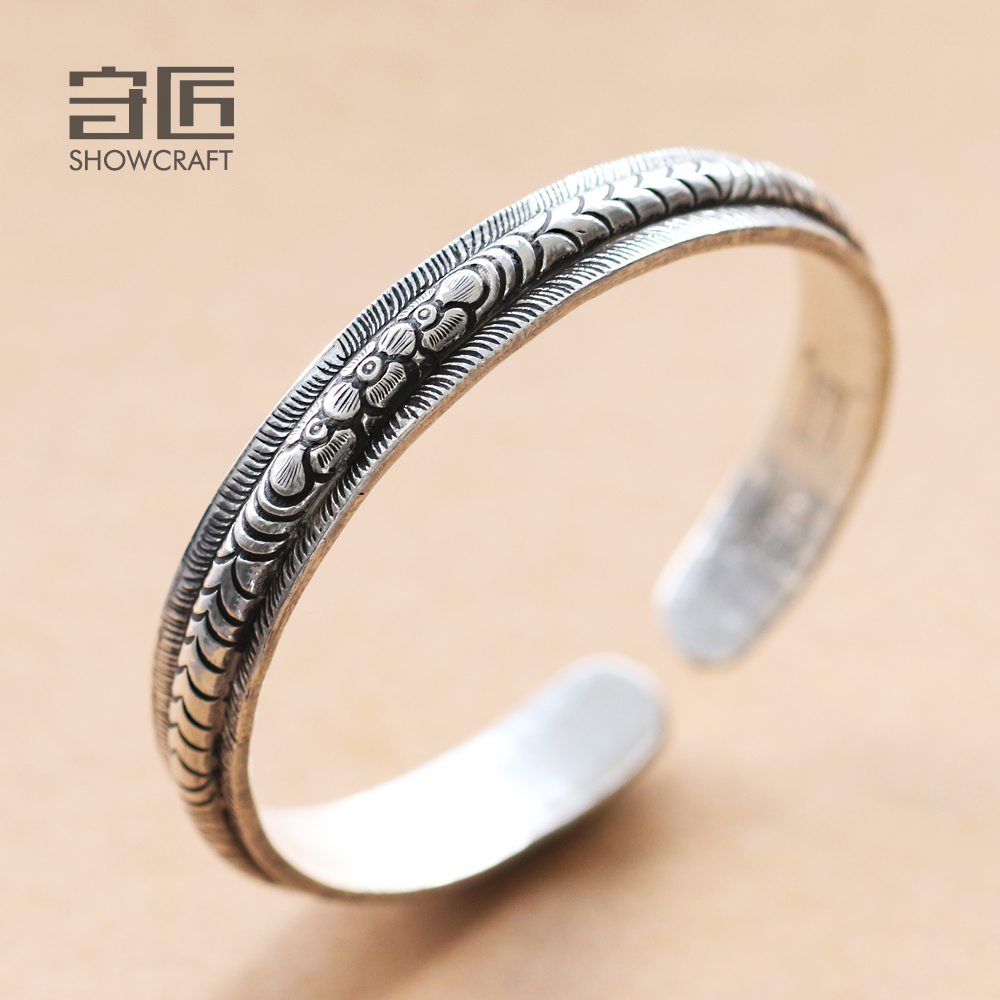 Craftsman pure silver bracelet original handmade silver bracelet 999 feather engraved Thai style simple gift