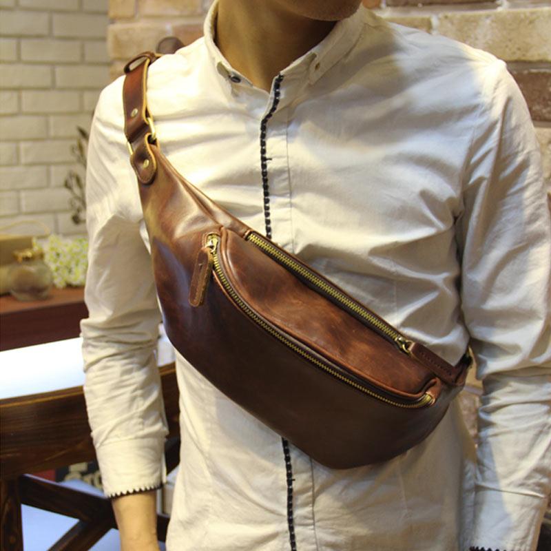 Fashion mens chest bag leisure sports bag retro messenger bag crazy horse skin shoulder bag Korean mens waist bag