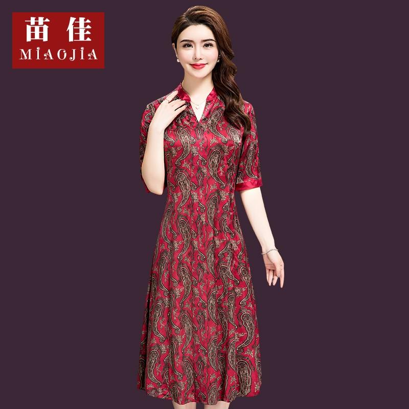 特价清仓中年女装杭州真丝连衣裙时尚妈妈装印花桑蚕丝裙40-50岁