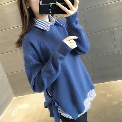【两件套】系带针织衫+条纹衬衫春装新款宽松大码打底毛衣套装女