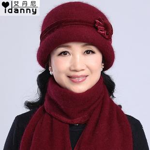 Осень и зима в пожилых шляпа женщина кролик вязание шерстяную шапку бабушка старики шляпа зима в год мама объем шапки полотенце