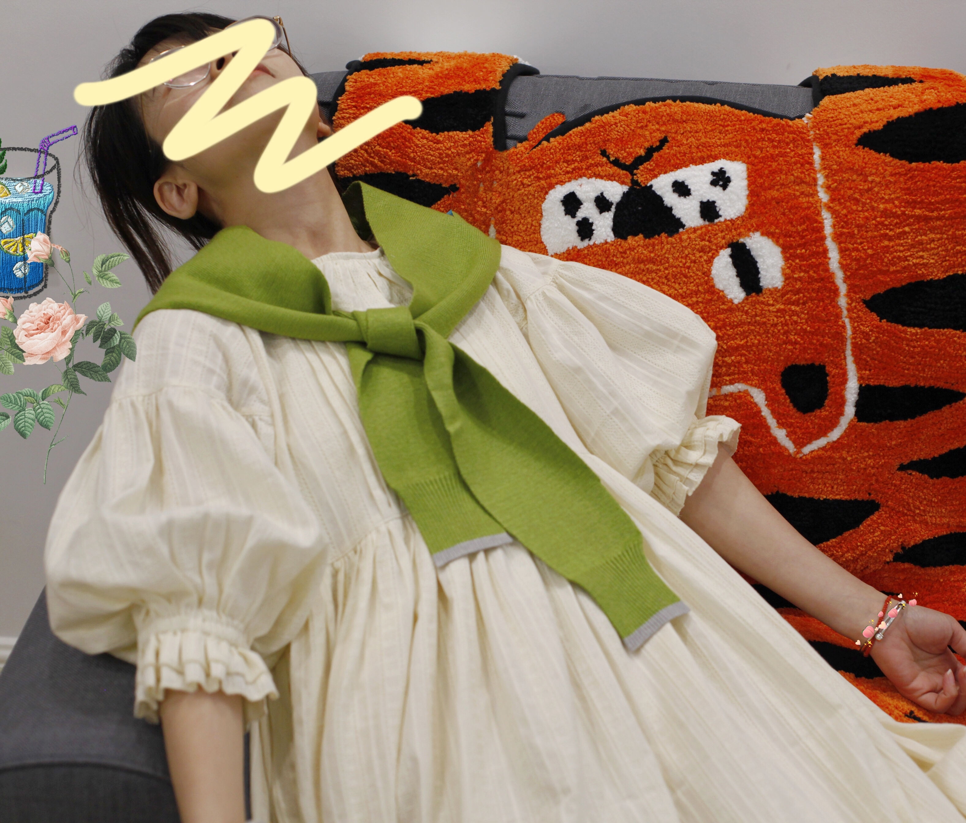 千叶鹿自制生成色荷叶边夏日晚餐泡泡袖法式娃娃loli软妹连衣裙