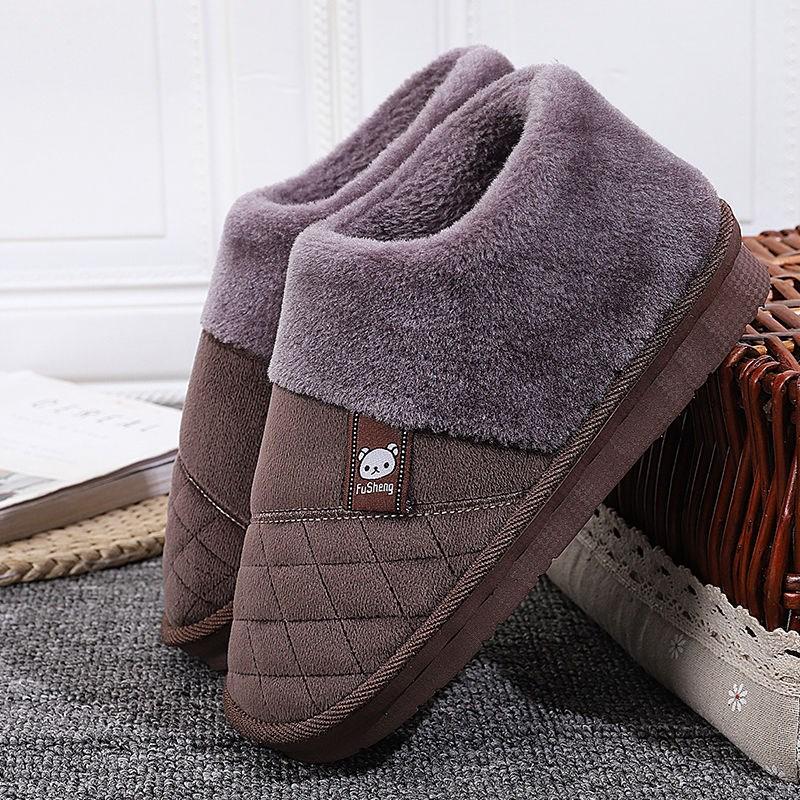 冬季棉拖鞋男士全包跟厚底居家室内防滑加绒保暖带后跟毛棉鞋冬。