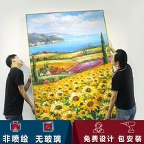 高端玄关油画手绘客厅装饰画艺术成品走廊向日葵挂画竖版梵高画