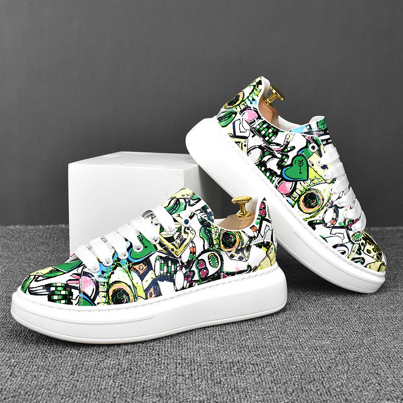 2021 spring and winter low top breathable mesh red personalized printed leather board shoes casual shoes mens shoes lightweight