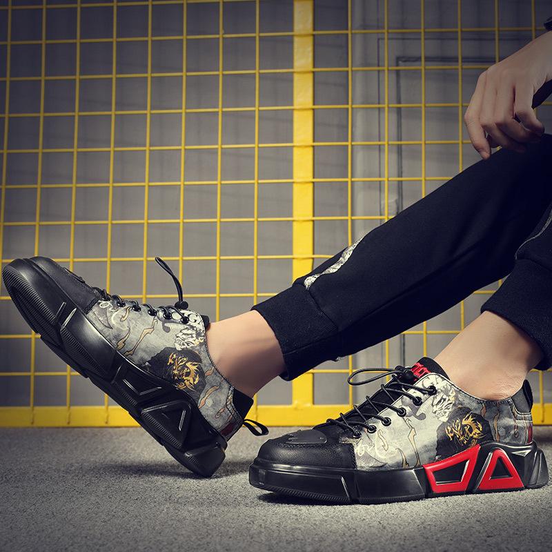 潮牌男歌手男鞋国潮低帮韩版网红个性潮鞋印花图腾时尚休闲鞋板鞋