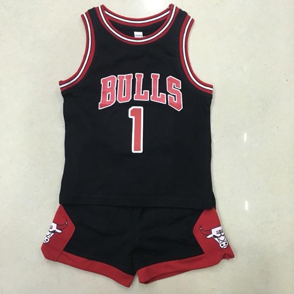 (用60元券)1号黑红色篮球服套装儿童男女定制印字球衣队服训练比赛球衣纯棉
