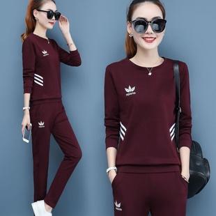 单件/套装春秋新款女士运动套装女修身显瘦长袖秋季休闲两件套
