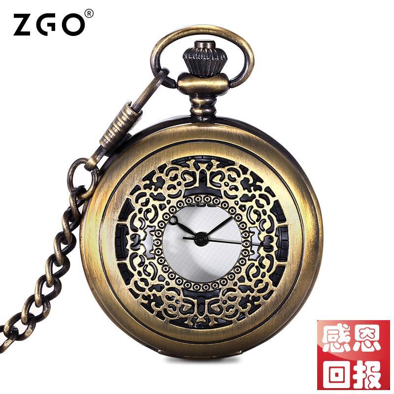 正港zgo老人手表青铜复古小怀表男士翻盖项链表男机械吊坠怀旧女