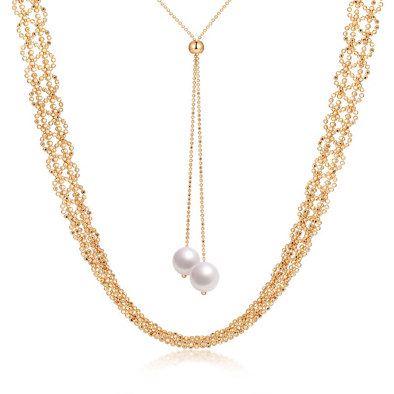 Edivia 18K lace gold imported pearl neckline long necklace with versatile temperament