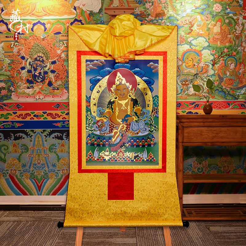 藏村黄财神佛像唐卡挂画西藏密宗描金仿手绘家用客厅藏族装饰壁画 Изображение 1