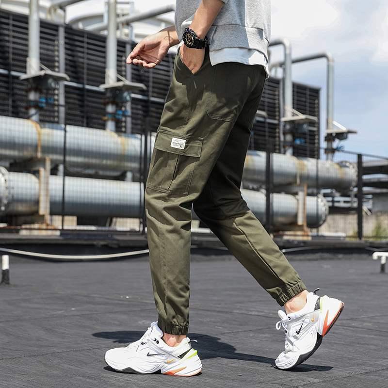 Summer fashion brand corset overalls mens summer Korean fashion loose Capris casual pants mens wear