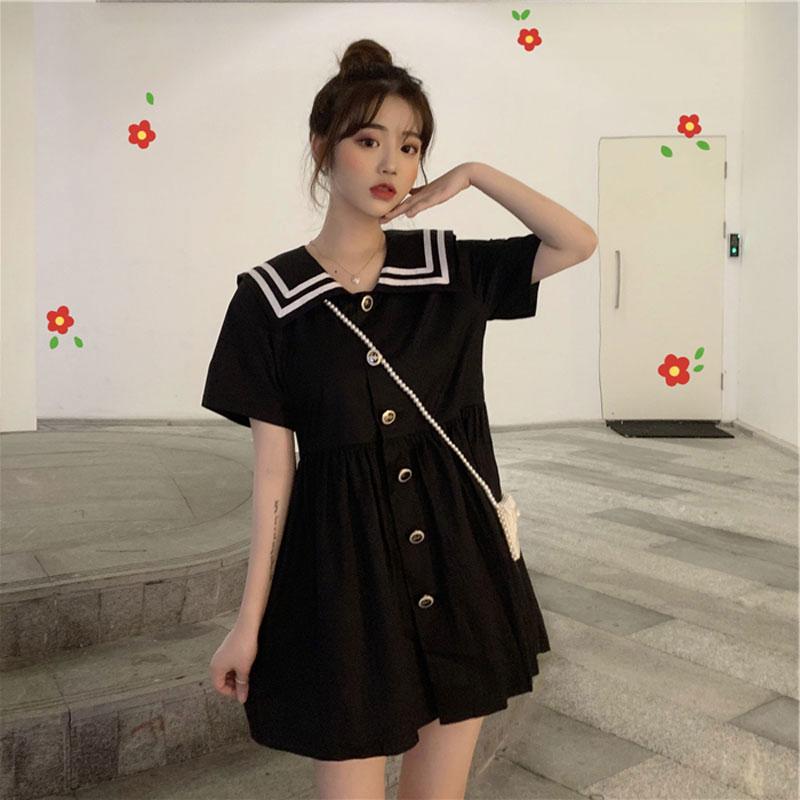 2019新款夏裙子仙女超仙森系甜美复古娃娃领洋气连衣裙显瘦小黑裙